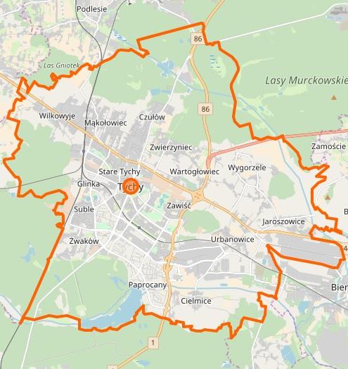 Tychy - plan miasta